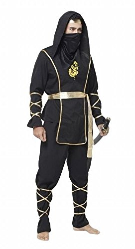 POJ Japanese Ninja Costume [ One Size Color Black for Men ] Japan Cosplay Halloween (Female Marvel Characters Costumes)