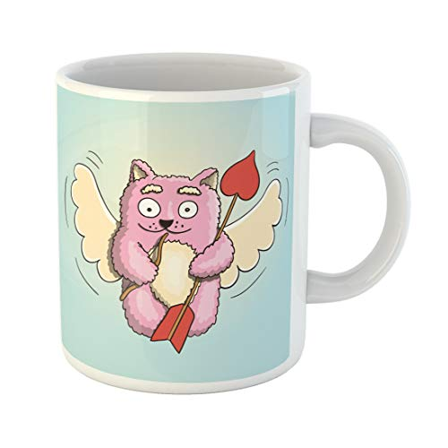 Emvency Funny Coffee Mug Valentines Day Cupid Pink Cat Flying on the Wings of Love with Little Bow and Big 11 Oz Ceramic Coffee Mug Tea Cup Best Gift Or ()