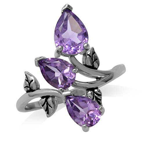 2.33ct. Natural Amethyst 925 Sterling Silver Bypass Leaf Ring Size 10