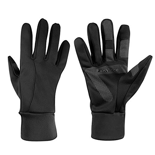 Winter Gloves Thermal Glove with Touch Screen Fingers Windproof Water Resistant for Running/Cycling/Driving/Snow Skiing/Ice Fishing in Cold Weather for Men and Women (Large, Black)