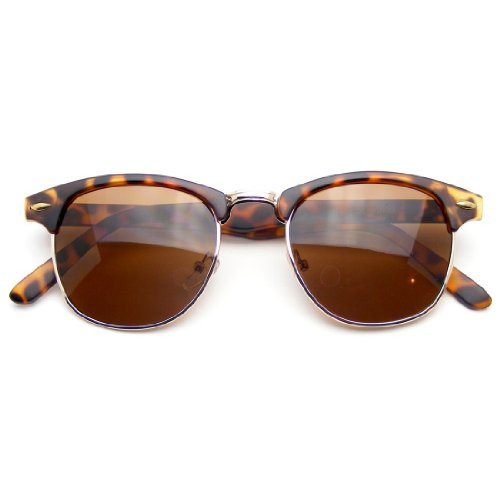 Vintage Inspired Classic Half Frame Horned Rim Sunglasses - For Hip Men Sunglasses
