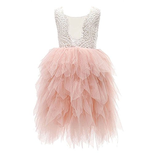 Topmaker Backless A-line Lace Back Flower Girl Dress (3T, Non-Beaded-Pink)]()