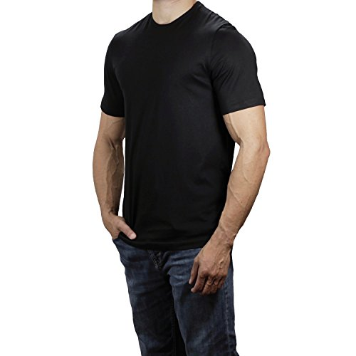 - Lanky Llama Peruvian Pima Crew Neck T-Shirt | Fit for Tall Slim Men (True Black, X-Large)