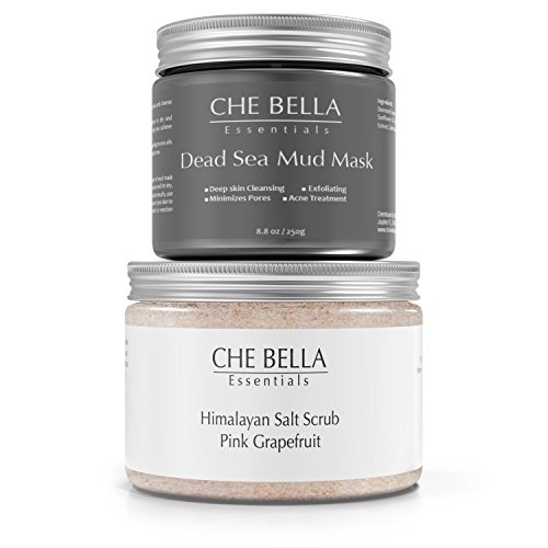 Mineral Beauty Anti-Aging Skin Rejuvenation Collection. Smooths And Brightens Skin. Includes One Dead Sea Mud Mask 8.8oz And One Himalayan Salt Scrub 12oz, 100% Natural by Che Bella Essentials