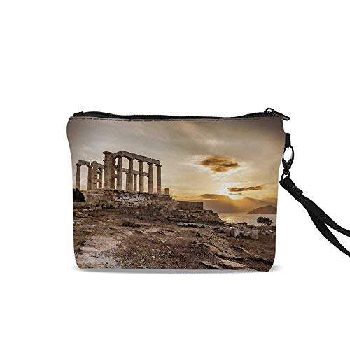 Pillar Decor Portable Travel Makeup Cosmetic Bags,Greek Temple Poseidon at Sunset Sea and the Cloudy Sky Digital Image For Women Girl,9