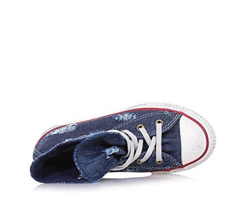 CONVERSE - Zapatilla de cordones Chuck Taylor All Star azul de denim, inserto anterior de caucho, efecto used, Niño, Niños Azul