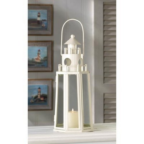 Ivory Lighthouse Candle Holder Outdoor Hanging Lantern