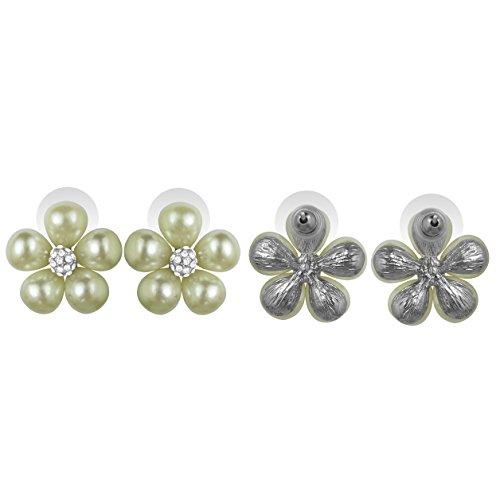 OMyGod Boucles d'oreilles percées cristal et perle motifs fleurs