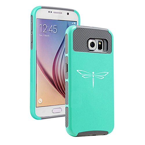 Teal Dragonfly Cover - For Samsung Galaxy S7 Shockproof Impact Hard Case Cover Dragonfly (Teal-Grey )