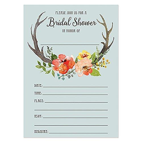 - Boho Bridal Shower Invitations with Envelopes (50 Count Value Pack) Rustic Country Farmhouse Design Blank Invites Wedding Bachelorette Engaged Couple Party by Digibuddha VI0003