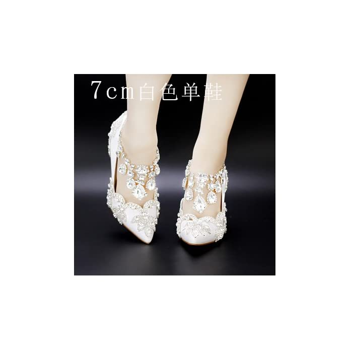 Vivioo Prom Sandals Shoes Crystal Buckle Strap Red High-heeled Summer Diamond Wedding Bride Hollow Fringed White Sandal Strap 7cm Heel B 7
