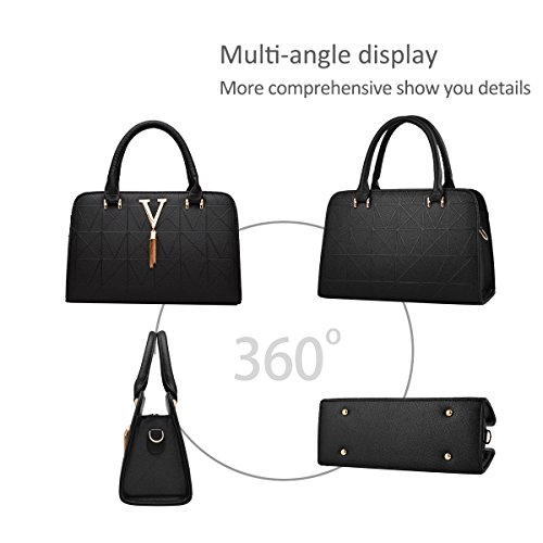 Pink Bag PU Bag Lady Satchel Women Dark Black Leather Handbags Shoulder Tote Crossbody amp;DORIS NICOLE Xwa40qxOn