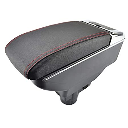 Dual-Layer Black Leather Arm Rest For Corsa D 2006-2014 Centre Console Storage Box Armrest