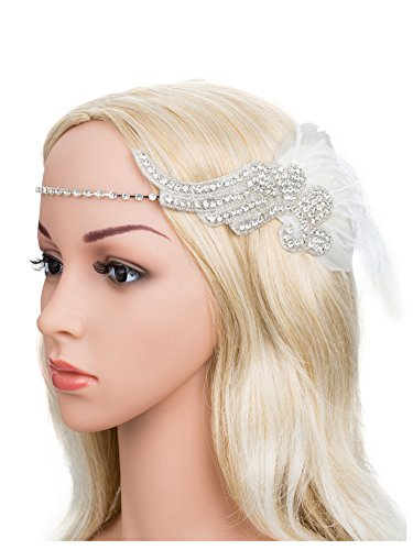 [Feather Crystal Headband Headpiece Wedding Party 1920s Great Gatsby Flapper Costumes Accessory] (Angel Costume Hair)