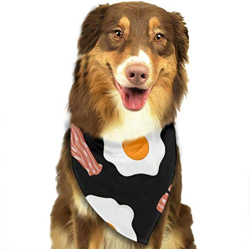ROCKSKY Funny Fried Egg and Bacon Black Dog Bandana Bibs Scarf Dogs Cats Pets Animals Birthday Bandana Scarves, Triangle Handkerchiefs Scarves for Party, Wedding, Small Medium Large Dogs