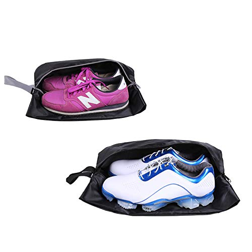 YAMIU Travel Shoe Bags Set of 2 Waterproof Nylon with Zipper for Men & Women (Black) from YAMIU