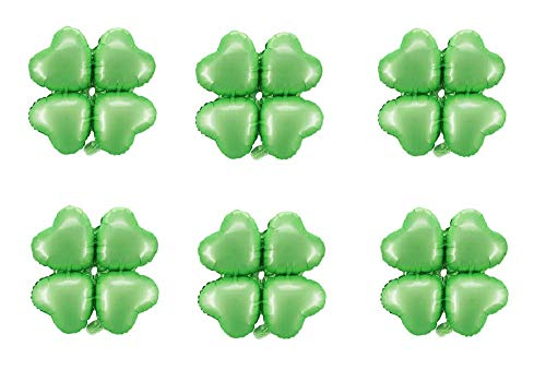 (6pcs St. Patricks Day Shamrock Foil Balloons Four Leaf Clover Balloons Mylar Helium Balloons Irish Festival Party Supplies, 18 inch- Green )