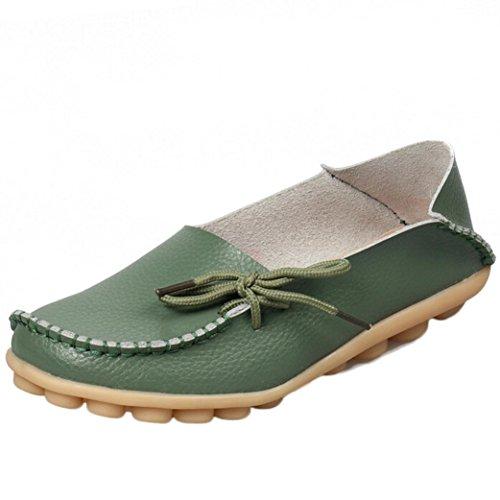 HCFKJ Nouvelles Femmes Chaussures En Cuir Mocassins Soft Loisirs Flats Chaussures Occasionnelles Femmes (37, vert)