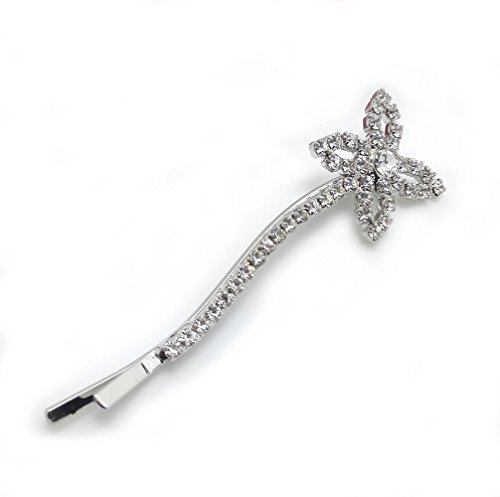 Meilliwish Crystal Four-leaf Clover Lucky Bobby Pin Hairpin (Silver) (A23)