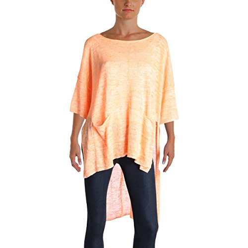 Free People Womens Melange Hi-Low Pullover Sweater Orange S