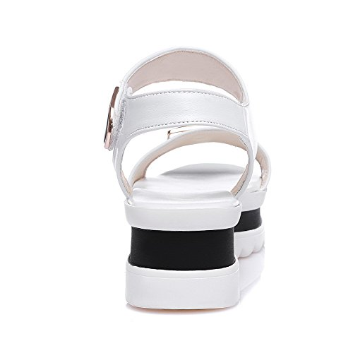 VogueZone009 Women's Kitten-Heels Soft Material Solid Hook-and-Loop Open Toe Sandals White ZDLmQEC