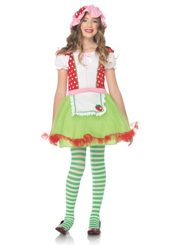 Leg Avenue Girl's 2 Piece Strawberry Sweetie Costume, Green/Red, Large]()