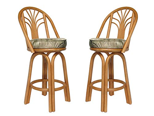 Assembled in USA Rattan Bar & Counter Stools (Set of 2) (#4211H-MN) (Counter Height 26