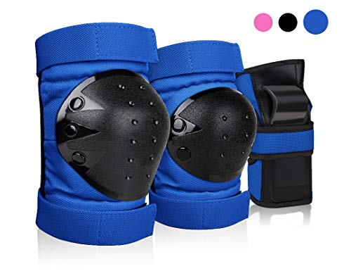 DEKINMAX Knee Pads for Kids & Youth Protective Gear Set, Knee Pads Elbow Pads with Wrist Guards 3 in 1 for Biking, Skating, and Rollerblading Scooter (Blue, L) ()