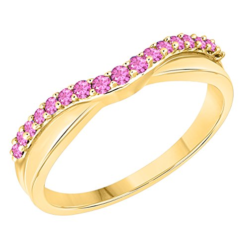 (DS Jewels Women's 14k Gold Plated Alloy White/Yellow/Rose/Black 1/4tcw Round Cut Created Pink-Sapphire Curved Wedding Band Ring Size 4-11)