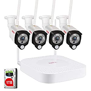 [Audio Recording & PIR] Tonton 8CH 1080P Home Security System Wireless, 8CH NVR Recorder with 4pcs 2 Megapixel…