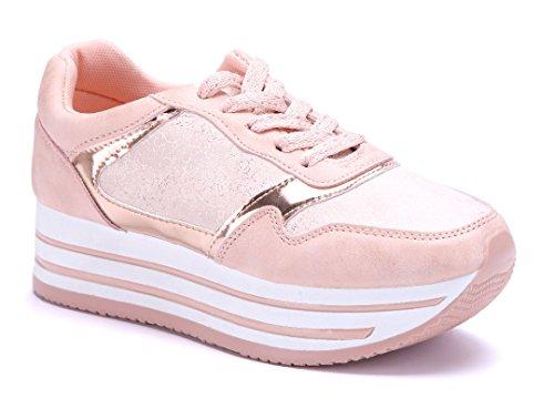 Schuhtempel24 Damen Schuhe Low Sneaker Flach Rosa