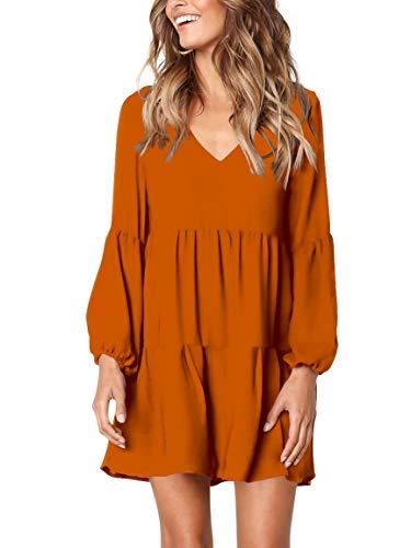 (Amoretu Women's Long Sleeve Tunic Dress V Neck Loose Swing Shift Dresses (X-Large,)