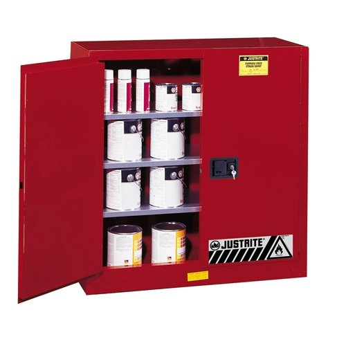"""Justrite 893011 Sure-Grip EX Steel 2 Door Manual Combustibles Safety Cabinet, 40 Gallon Capacity, 43"""" Width x 44"""" Height x 18"""" Depth, 3 Adjustable Shelvess, Red"""
