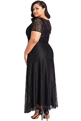 Foryingni Womens Plus Size Floral Lace High Waist Evening Maxi Dress with Sleeves at Amazon Womens Clothing store: