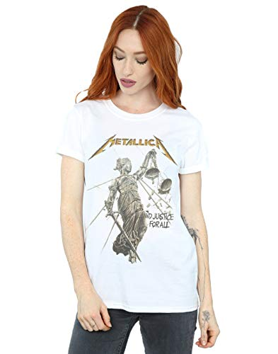Metallica Women's and Justice for All Boyfriend Fit T-Shirt White Small from Absolute Cult