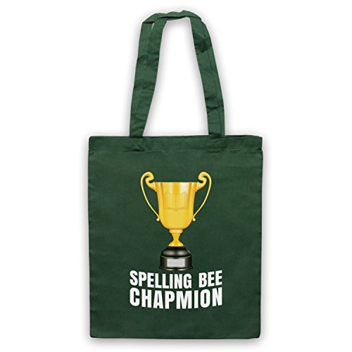 My Icon Art & Clothing Spelling Bee Chapmion Funny Bad Spelling Champion Parody Bolso Verde Oscuro