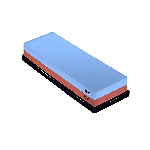 Premium Knife Sharpening Stone 2 Side Grit 240/800 Grit Combination Waterstone with Slip-resistant Rubber Stone Holder Included