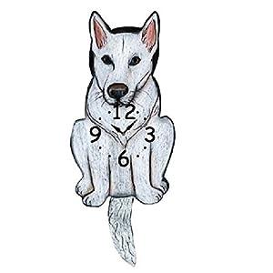 White German Shepherd Dog Wagging Tail Pendulum Clock 35
