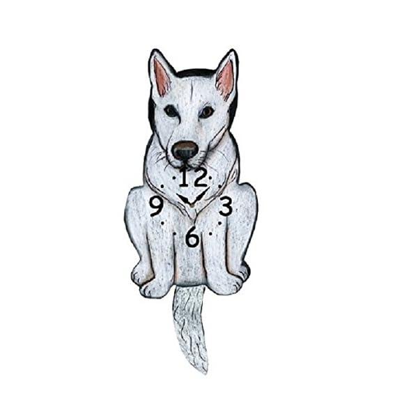 White German Shepherd Dog Wagging Tail Pendulum Clock 1