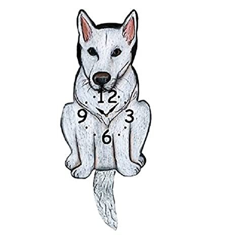 White German Shepherd Dog Wagging Tail Pendulum Clock