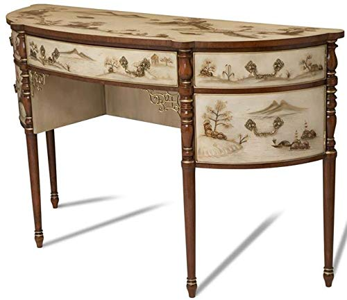 Scarborough House Sideboard Ivory White Lacquered Chinoiserie Demilune Brass