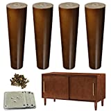 Wood Furniture Legs 8 inch Sofa Legs Set of 4 Walnut Finished Replacement Feet Ideal for IKEA Sofa Bed Dresser Cabinet Pack of 4pcs with Mounting Plates