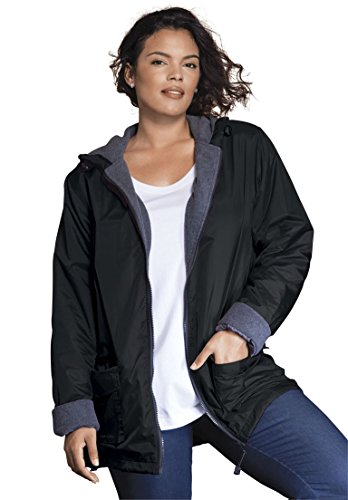 Ladies Nylon Jacket (Roamans Women's Plus Size Hooded Nylon Jacket Black,M)