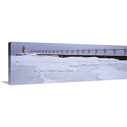 (GREATBIGCANVAS Gallery-Wrapped Canvas Entitled Frozen Lake with a Lighthouse in The Background, Lake Michigan, St. Joseph, Michigan by 36