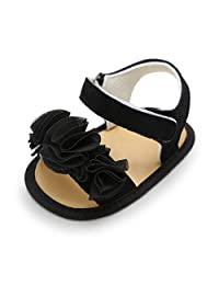 Baby Girls Sandals Pu Leather Flower Rubbler Sole Non-Slip Summer First Walkers Shoes