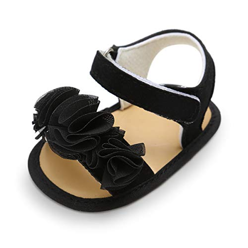 Mybbay Infant Baby Girls Cute Sandals Rubber Soft Sole Summer Sweet Princess Dress Bowknot Casual First Walker Shoes (9-15 Months M US Infant, B-Black)