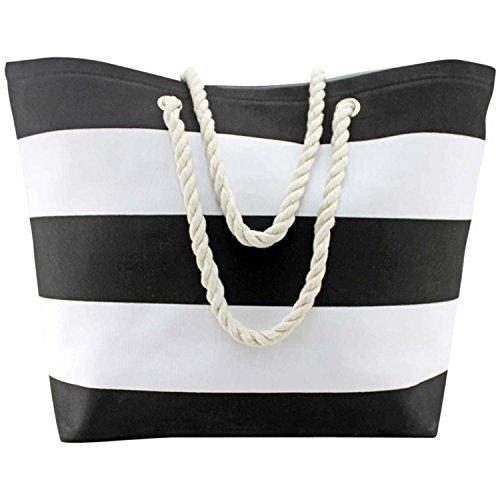 Black & White Wide Stripe Deluxe Oversize Beach Tote Bag (Stripe Tote White)