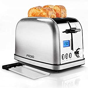 Toaster 2 Slice Stainless Steel Toasters,LCD Timer Display Compact Toaster Extra Wide Slots with 7 Bread Shade Settings&Defrost/Bagel/Cancel/Reheat Function,Removable Crumb Tray,900W Silver Toaster (Renewed)