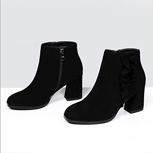 KHSKX-The Korean Version Of The Black 7Cm Square Satin Women'S Shoes With Zipper Coarse And Casual And Versatile Boots And Bare Boots Female 39 S0t2j4
