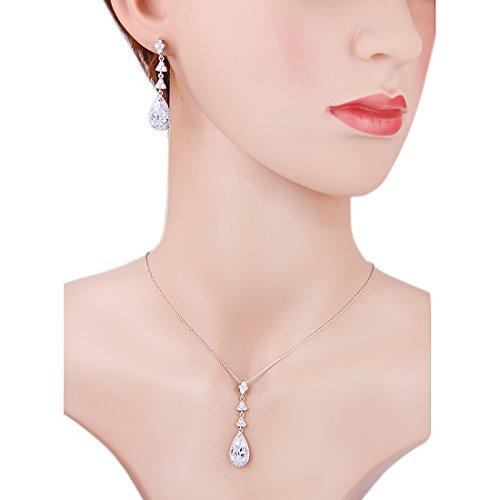 Wordless Love Teardrop Pear Shape CZ Women Bridal Necklace and Pierced Earring Jewelry Sets by Wordless Love (Image #4)